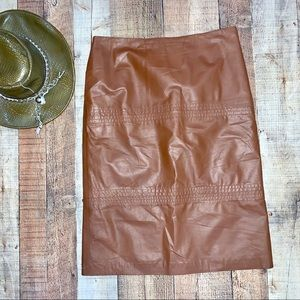 WestBay   Brown Vintage Style Leather Pencil Skirt